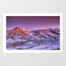 Panoramic view of Lake Ercina with snow in Asturias, Spain. Art Print