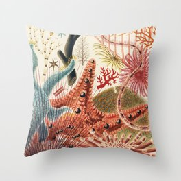 Coral reef colorful underwater design Throw Pillow