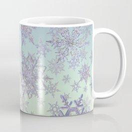 Snowflakes Embroidered on Misty Sky Coffee Mug