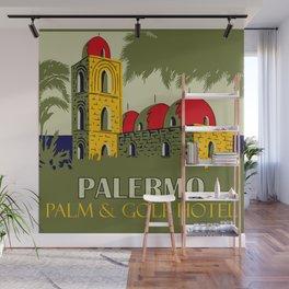 Retro Palermo Sicily hotel travel ad Wall Mural