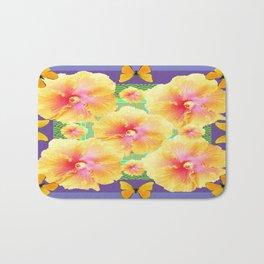Peachy Yellow Tropical Hibiscus Butterflies Lilac-Green Abstract Bath Mat