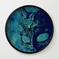 donnie darko Wall Clocks featuring Donnie Darko by Giuseppe Cristiano