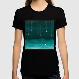 Falling stars, sailboat, teal, ocean T-shirt
