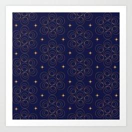 Abstract Faux Gold Circles and Stars Pattern Indigo Blue Art Print