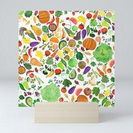 Fruit and Veg Pattern Mini Art Print