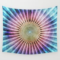 tie dye Wall Tapestries featuring Textured Mandala Tie Dye by Phil Perkins