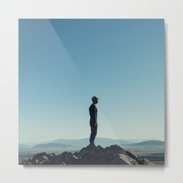 Alone in the blue summit Metal Print