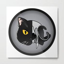 Black Cat Skull Metal Print