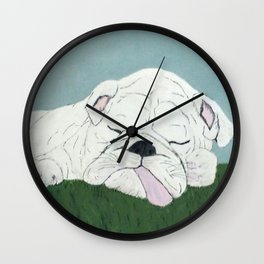 Bulldog Nap Wall Clock