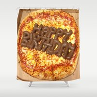 poop Shower Curtains featuring Pizza Poop by Carsick T-Rex