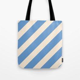 Antique White and Blue Grey Diagonal Stripes Tote Bag