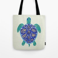 hearts Tote Bags featuring Sea Turtle by Cat Coquillette