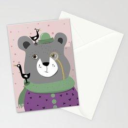 Crazy bird bear Stationery Cards