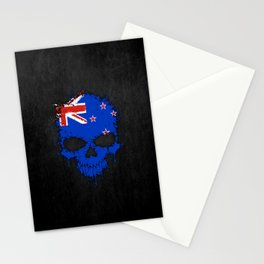 Flag of New Zealand on a Chaotic Splatter Skull Stationery Cards