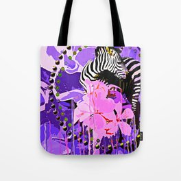 Zebras and Flowers Tote Bag