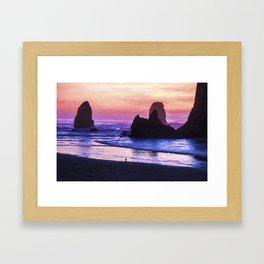 Sunset At Cannon Beach Framed Art Print