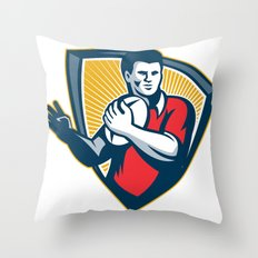 Rugby Player Running Ball Shield Retro Throw Pillow