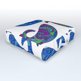 Colorful Whales Outdoor Floor Cushion