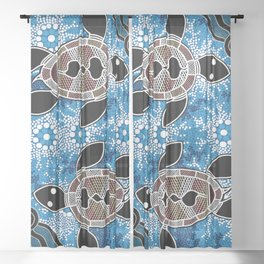 Authentic Aboriginal Art - Sea Turtles Sheer Curtain