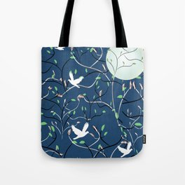 Art Nouveau Moon with Doves (Blue and Silver) Tote Bag