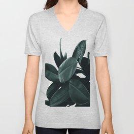 Dark Green Rubber Plant Unisex V-Neck