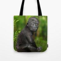 gorilla Tote Bags featuring Gorilla by Julie Hoddinott
