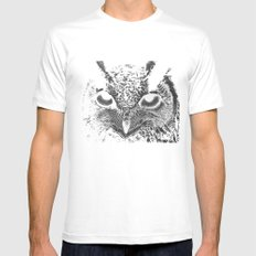 My Eyes Have Seen You (Owl) MEDIUM White Mens Fitted Tee