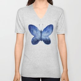 Blue Galaxy Butterfly Unisex V-Neck