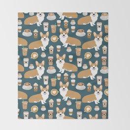 Corgi Coffee print corgi coffee pillow corgi iphone case corgi dog design corgi pattern Throw Blanket