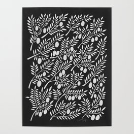 White Olive Branches Poster