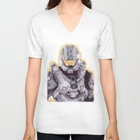 master chief V-neck T-shirts featuring Halo Master Chief by DeMoose_Art