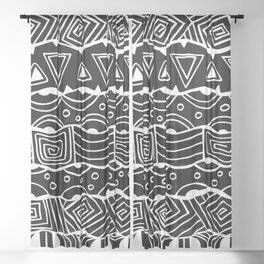 Wavy Tribal Lines with Shapes - White on Black - Doodle Drawing Sheer Curtain