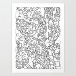 Wandering 43: black & white line art Art Print