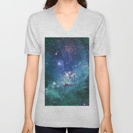 Turquoise Star Galaxy Unisex V-Neck