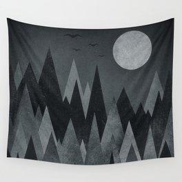 Dark Mystery Abstract Geometric Triangle Peak Wood's (black & white) Wall Tapestry