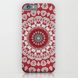 Red White Bohemian Mandala Design iPhone Case