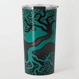 Teal Blue and Black Tree of Life Yin Yang Travel Mug