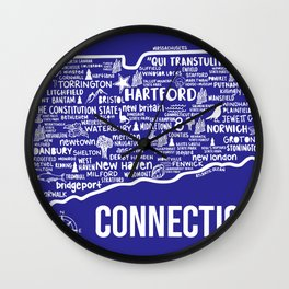 Connecticut Map  Wall Clock