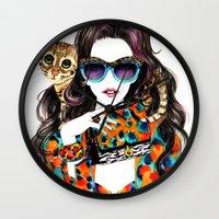 kenzo Wall Clocks featuring Kenzo Girl by Sunny Gu