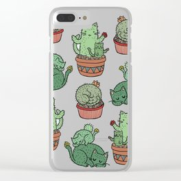 Cactus Cats Clear iPhone Case