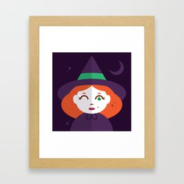 A Young Witch with Just a Wink of Magic Framed Art Print