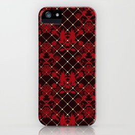 Retro .Vintage . Black red openwork ornament . iPhone Case
