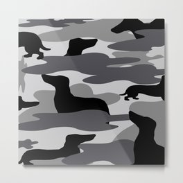 Grey Camo Weiner Dogg Metal Print