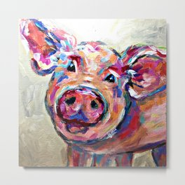 Happy Pig Art Metal Print