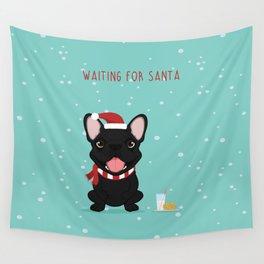 French Bulldog Waiting for Santa - Black / Brindle Edition Wall Tapestry