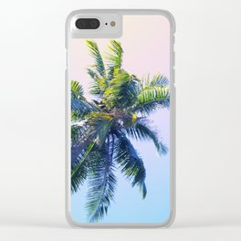 Coco Palm Trees on Pink Blue Sky Clear iPhone Case