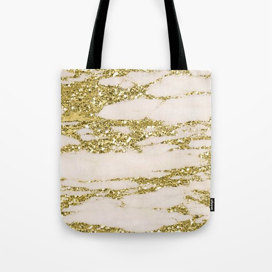 Marble - Gold Marble Glittery Light Pink and Yellow Gold Tote Bag