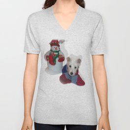 Teddy and the Snowman Unisex V-Neck