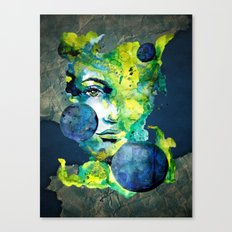 Evelin Green (Set) by carographic watercolor portrait Canvas Print