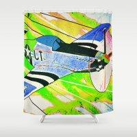 mustang Shower Curtains featuring P51 Mustang Pop Art by Steve W Schwartz Art
